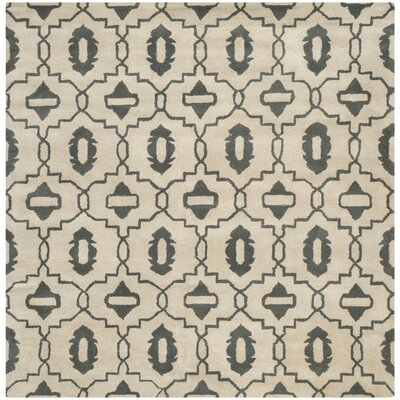 Longe Hand-Tufted Wool Beige/Gray Area Rug Rug Size: Square 7