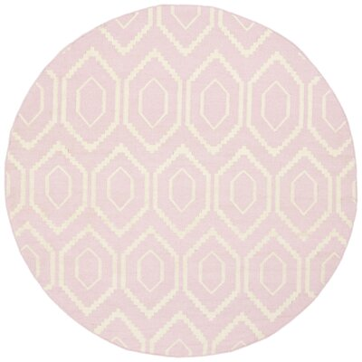 Crawford Hand-Woven Wool Pink/Ivory Outdoor Area Rug Rug Size: Rectangle 9 x 12