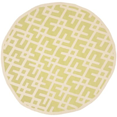 Crawford Hand-Woven Light Green/Ivory Area Rug Rug Size: Round 6