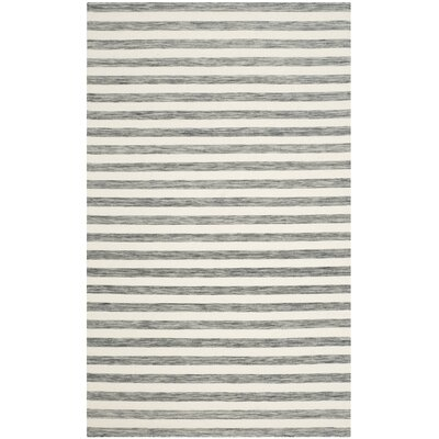 Mahaney Hand-Woven Gray/Ivory Area Rug Rug Size: Rectangle 5 x 8