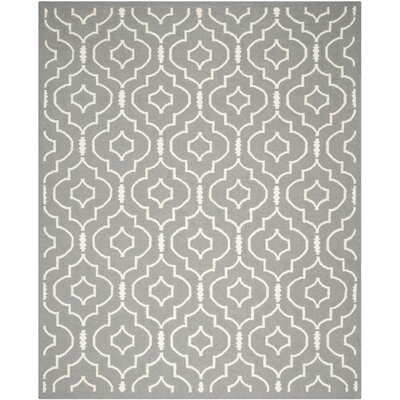 Crawford Hand-Woven Gray/Ivory Area Rug Rug Size: Rectangle 10 x 14