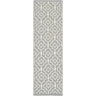 Crawford Hand-Woven Grey/Ivory Area Rug Rug Size: Runner 2'6 x 12'