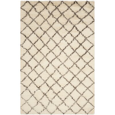 Lohan Hand-Woven Ivory/Dark Brown Area Rug Rug Size: Rectangle 8 x 10