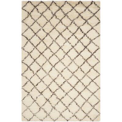 Lohan Hand-Woven Ivory/Dark Brown Area Rug Rug Size: 8' x 10'