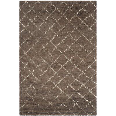 Lohan Hand-Woven Dark Grey/Ivory Area Rug Rug Size: 9 x 12