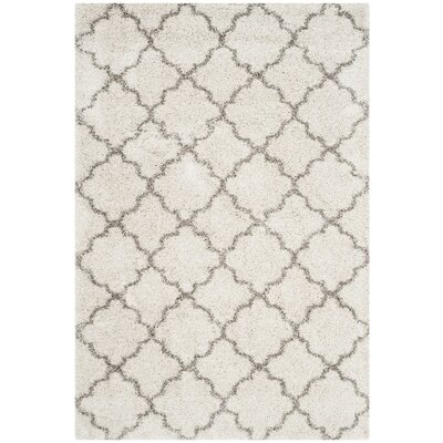Samira Shag Ivory/Gray Area Rug Rug Size: Rectangle 10 x 14