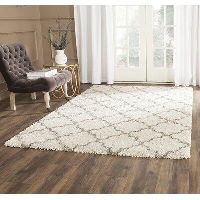 Samira Shag Ivory/Gray Area Rug Rug Size: 2 x 3