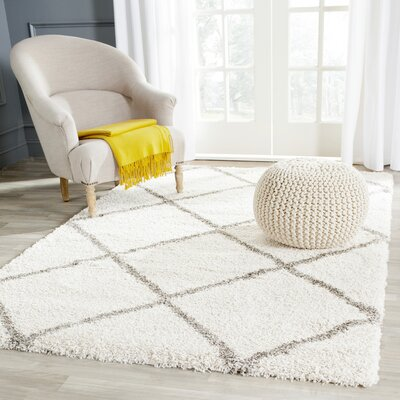Duhon Ivory/Gray Shag Area Rug Rug Size: Rectangle 23 X 14