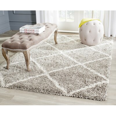 Hampstead Grey/Ivory Shag Area Rug Rug Size: 6' x 9'