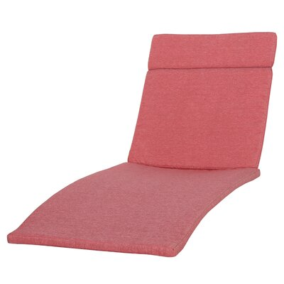 Cara Outdoor Chaise Lounge Cushion (Set of 2) Color: Red