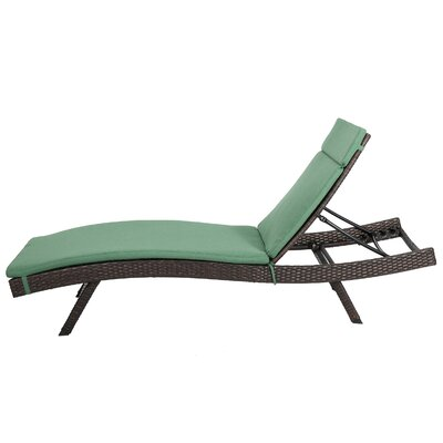 Ferrara Chaise Lounge with Cushion Color: Jungle Green