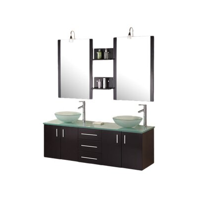 Newcastle 61 Floating Double Bathroom Vanity Set with Mirrors