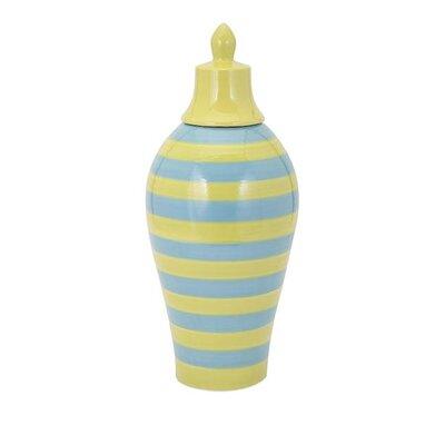 Hibbs Large Striped Lidded Vase
