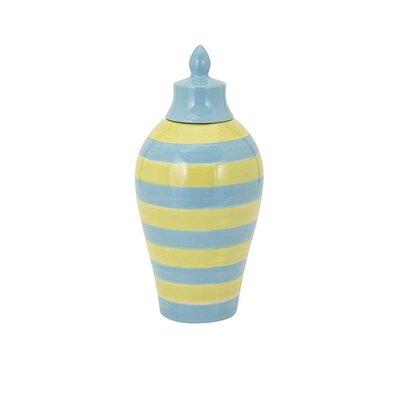 Hibbs Small Striped Lidded Vase