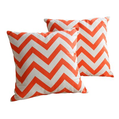 Benes Chevron Cotton Throw Pillow Size: 18 H x 18 W, Color: Orange