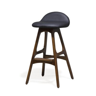 Chau 29 Bar Stool Upholstery: Black
