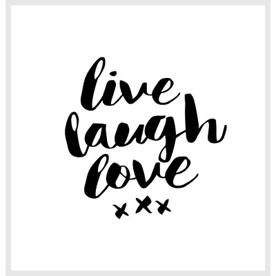 Brett Wilson Live Laugh Love Shower Curtain Color: White / Black