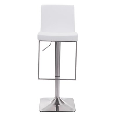 Bissett Adjustable Height Swivel Bar Stool Upholstery: White