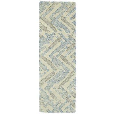 Louane Hand-Tufted Beige/Blue Area Rug Rug Size: Runner 26 x 8