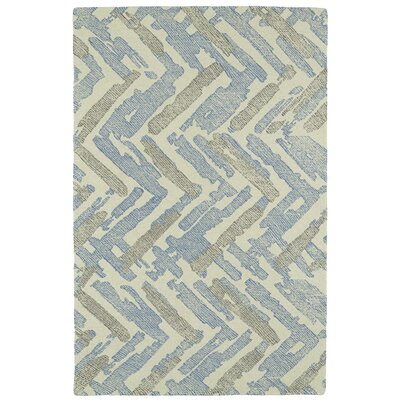 Louane Hand-Tufted Beige/Blue Area Rug Rug Size: Rectangle 36 x 56