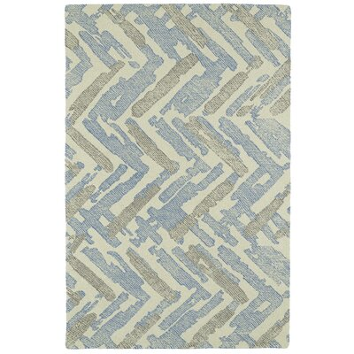Louane Hand-Tufted Beige/Blue Area Rug Rug Size: 5 x 9