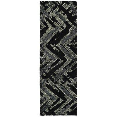 Louane Hand-Tufted Black/Gray Area Rug Rug Size: Runner 26 x 8