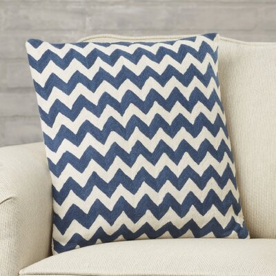 Jeramiah 100% Cotton Throw Pillow Size: 22 H x 22 W x 2.5 D, Color: Navy Blue