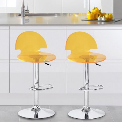 Stanhope Contemporary Adjustable Height Swivel Bar Stool Upholstery: Yellow