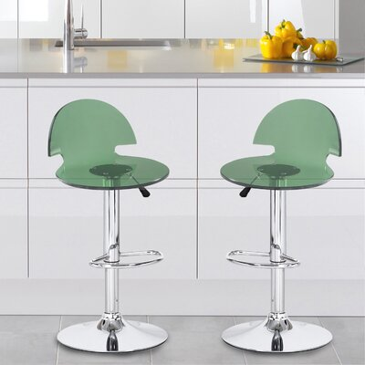 Stanhope Contemporary Adjustable Height Swivel Bar Stool Upholstery: Green