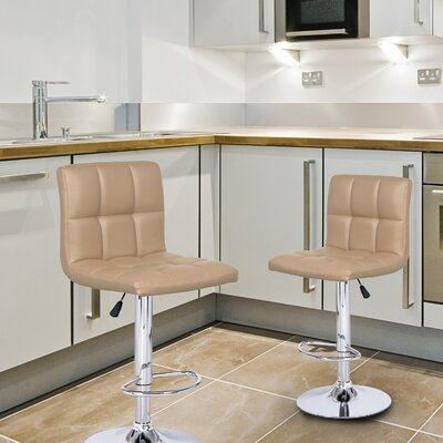 Sandidge Adjustable Height Swivel Bar Stool Upholstery: Beige