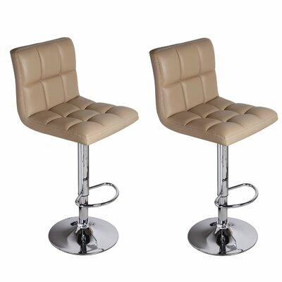 Sandidge Adjustable Height Swivel Bar Stool Upholstery: Beige