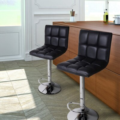 Sandidge Adjustable Height Swivel Bar Stool Upholstery: Black