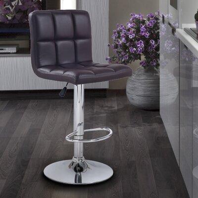 Sandidge Adjustable Height Swivel Bar Stool Upholstery: Brown