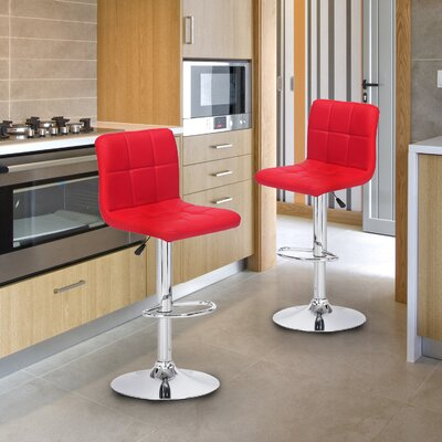 Sandidge Adjustable Height Swivel Bar Stool Upholstery: Red