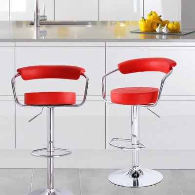 Stepney Adjustable Height Swivel Bar Stool Upholstery: Red