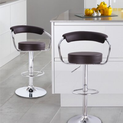 Stepney Adjustable Height Swivel Bar Stool Upholstery: Brown
