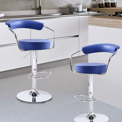 Stepney Adjustable Height Swivel Bar Stool Upholstery: Blue