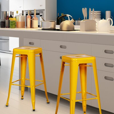 Wafford 30 Bar Stool Upholstery: Yellow