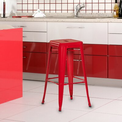 Wafford 30 Bar Stool Upholstery: Red
