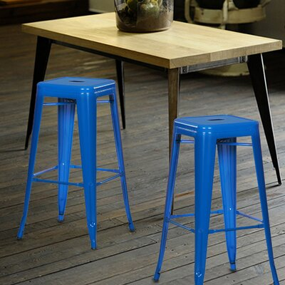 Wafford 30 Bar Stool Upholstery: Dark Blue