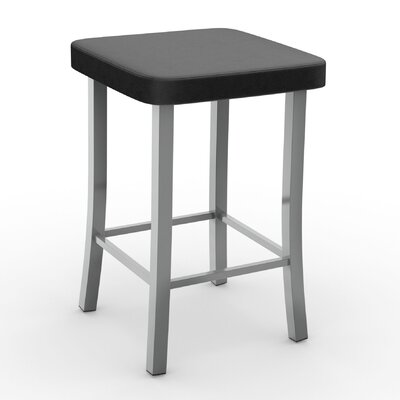Caudillo 25.5 Bar Stool Color: Glossy Gray, Upholstery: Matte Charcoal Black