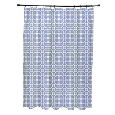 Agin Geometric Shower Curtain Color: Off White/Blue