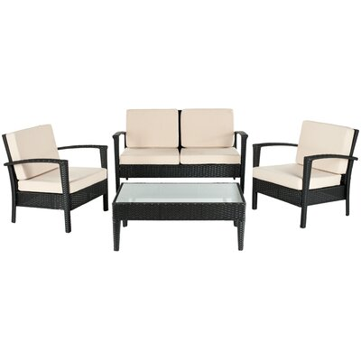 Steinman 4 Piece Deep Seating Group with Cushions Finish: Black / Cream