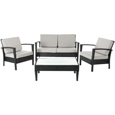 Bembry 4 Piece Deep Seating Group with Cushions Finish: Black / Grey