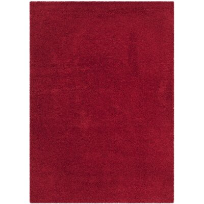 Nickols Shag Red Area Rug Rug Size: 53 x 76