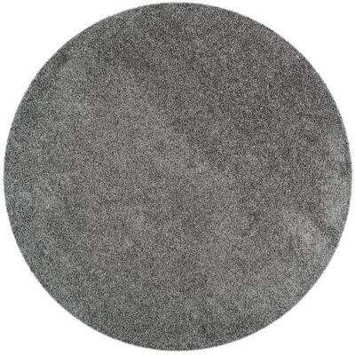 Nickols Shag Dark Gray Area Rug Rug Size: Round 67 x 67