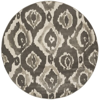 Twilley Ivory / Dark Gray Area Rug Rug Size: Round 67 x 67
