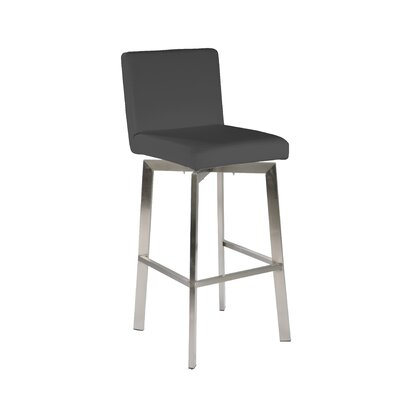 Lucio 26 Swivel Bar Stool Upholstery: Grey