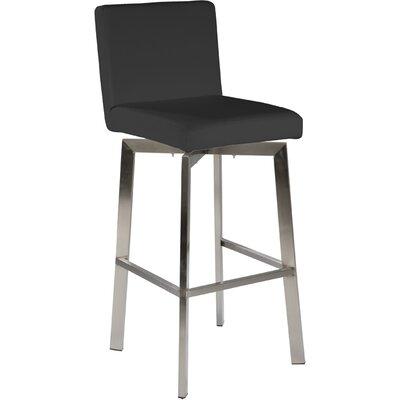 Lucio 26 Swivel Bar Stool Upholstery: Black