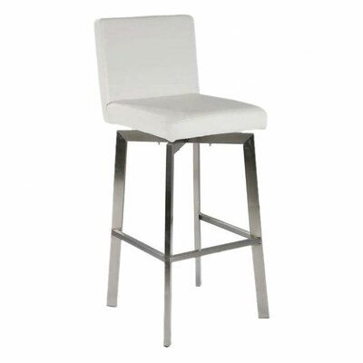 Lucio 26 Swivel Bar Stool Upholstery: White
